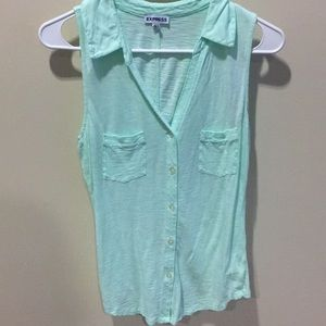 Mint green button down, collared tank top